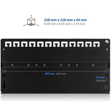 deleyCON CAT 6 Patchpanel Verteilerfeld 12 Port - Desktop / Wandmontage - geschirmt - 12x RJ45 Buchse - TIA568A / TIA568B - Schwarz -