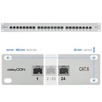 deleyCON CAT 6 Patchpanel Verteilerfeld 24 Port - Desktop / 19 Zoll Rackeinbau / Servermontage - geschirmt - 24x RJ45 Buchse - TIA568A / TIA568B - schwarz -