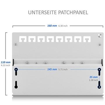 deleyCON CAT 6 Patchpanel Verteilerfeld 8 Port - Desktop / Wandmontage - geschirmt - 8x RJ45 Buchse - TIA568A / TIA568B - Lichtgrau -