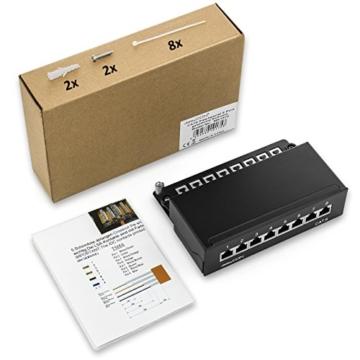 deleyCON CAT 6 Patchpanel Verteilerfeld 8 Port - Desktop / Wandmontage - geschirmt - 8x RJ45 Buchse - TIA568A / TIA568B - schwarz -