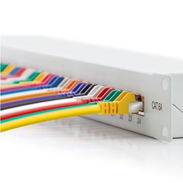 deleyCON CAT 6a Patchpanel Verteilerfeld 24 Port - Desktop / 19 Zoll Rackeinbau / Servermontage - geschirmt - 24x RJ45 Buchse - TIA568A / TIA568B - lichtgrau -