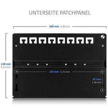 deleyCON CAT 6a Patchpanel Verteilerfeld 8 Port - Desktop / Wandmontage - geschirmt - 8x RJ45 Buchse - TIA568A / TIA568B - schwarz -