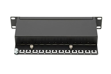 DIGITUS Cat.6 Klasse E Patch Panel, geschirmt, 12-Port RJ45, LSA(+), 8P8C, 1HE, 254mm (10