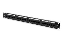 """DIGITUS Cat.6 Klasse E Patch Panel, ungeschirmt, 24-Port RJ45, LSA(+), 8P8C, 1HE, 483 mm (19"""") Rack Mount, Farbe Schwarz RAL 9005 -"""