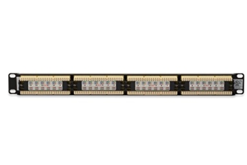 DIGITUS Cat.6 Klasse E Patch Panel, ungeschirmt, 24-Port RJ45, LSA(+), 8P8C, 1HE, 483 mm (19