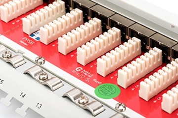 DIGITUS Cat.6A Klasse EA Patch Panel, geschirmt, 24-Port RJ45, inkl. Staubschutzklappen, LSA(+), 8P8C, 1HE, 483 mm (19