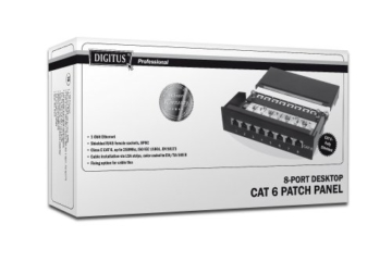 DIGITUS Patch Panel Desktop 8Port Cat6 geschirmt schwarz RAL9005 Kabelinstallation mit LSA Leisten farbcodiert nach EIA/TIA 568A+B -