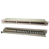 LogiLink Patchpanel 24-Port Cat6 RJ45  48,3 cm (19 Zoll) vollgeschirmt grau -