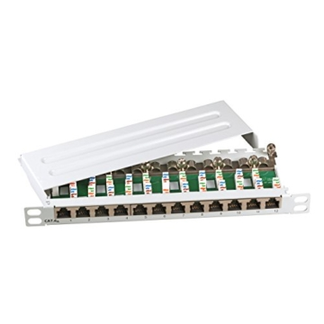 SCENetwork KAT6a CAT6a 500MHz 12-Port Mini 10″ Patchpanel Patchfeld aus Metall, geschirmt, lichtgrau RAL7035, zur Wandmontage und Desktopmontage sowie 10 Zoll tauglich, 0,5 HE -