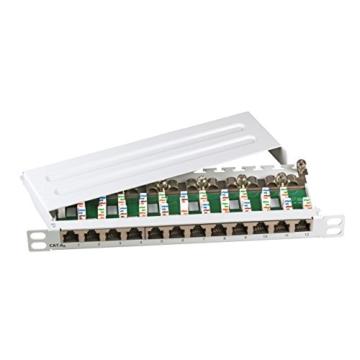 SCENetwork KAT6a CAT6a 500MHz 12-Port Mini 10″ Patchpanel Patchfeld aus Metall, geschirmt, lichtgrau RAL7035, zur Wandmontage und Desktopmontage sowie 10 Zoll tauglich, 0,5 HE -